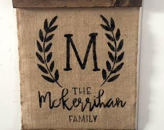 Custom Burlap sign, rustic farmhouse, Housewarming gift, handmade, Last name inital, monogram Newleywed, door hanger, personalized present