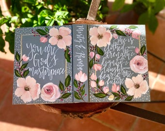 Hand Painted Bible // 'You are God's Masterpiece'