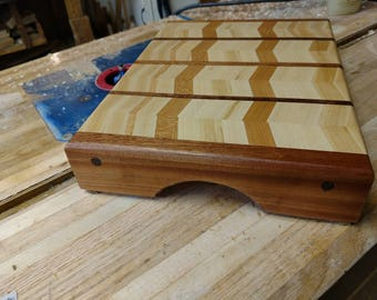 Chevron hardwood cutting board