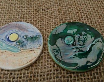Set of Two handmade round ceramic rustic cabochons/jewellery making/Haberdashery/Craft/Scrapbooking/Green/Embellishing.