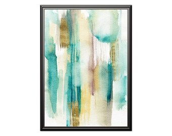 Abstract watercolor art, Abstract aqua & gold wall art. Modern home decor, housewarming gift, blue gold printable art