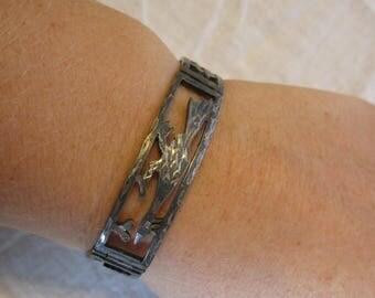 Native American Sterling Silver Roadrunner Bracelet