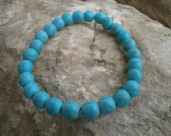 "Magnesite bracelet 8 mm, ""Turquoise"" #033"