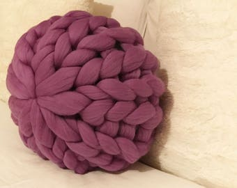 Decorative round Merino pouf pillow