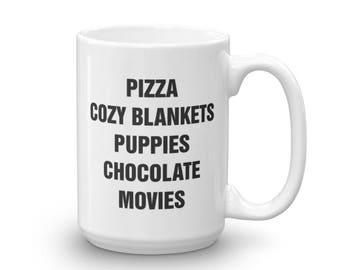 CUSTOMIZABLE Favorite Things Mug, Cute, Coffee, Tea, Coffee Lover, Tea Lover, Fun, Mugs With Sayings, Pizza, Puppies, Blankets, Chocolate