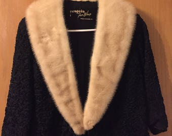 Looped Ribbon Jacket with Mink Collar