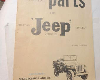 vintage 1960 sears illustrated parts catalog- Jeep- military, civilian 47 pages