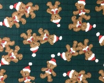 "Santa Bears on Green - Cotton fabric - 13""x44"" REMNANT"