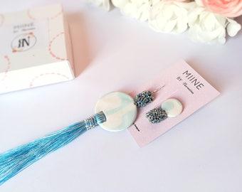 Tassel earrings, fringe earrings, long earrings, big earrings, blue earrings, gift for her, statement jewelry, earrings handmade, jewelries