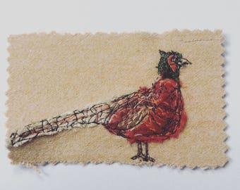 Pheasant in fabric