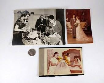 3 Vintage Wedding Photos, Formal Occasion, Asian Bride and Bridesmaid, Wedding Couple