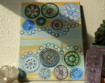 Cellular Mandala - acrylic painting on canvas