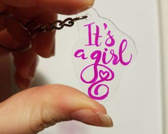 """Pink """"Its a girl"""" keychain"""