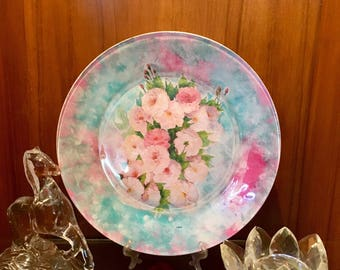 Hand decorated glass plate