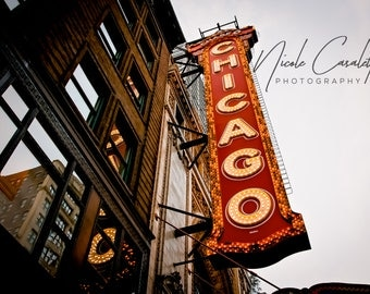 "Chicago Theater Sign - 10"" x 10"" Vivid Metal with brackets, ready for hanging"
