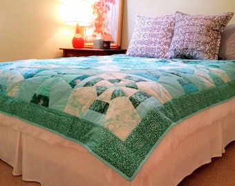 Queen Size Ocean Quilt - Green, Silver, Blue, White, Turquoise, Aqua, Dark Green
