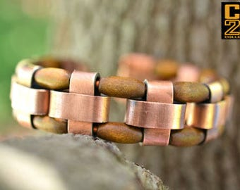 Copper and Wood Bracelet - Hand Crafted Copper Links with Oblong Brown Wood Beads - Adjustable - Men or Women