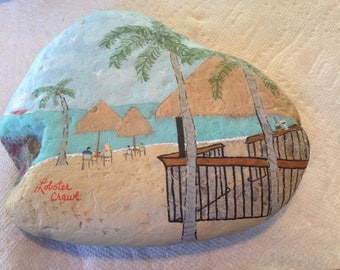 Lobster Crawl Bar and Grill, Florida Keys, hand painted river rock