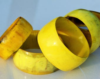 Salvaged Cow Horn Bangle - Yellow