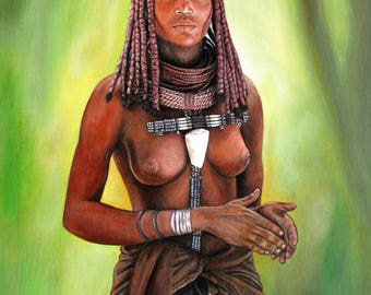 "Portrait painting-canvas print on canvas ""Himba"""