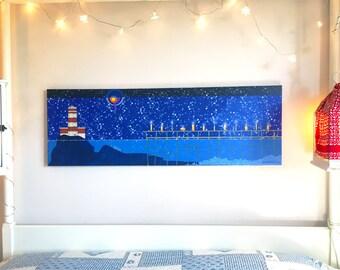 "Yago Salina-Reproduction on canvas ""Yemanja, Goddess of the sea, Bride of seafarers...""-Size: cm 120x40"