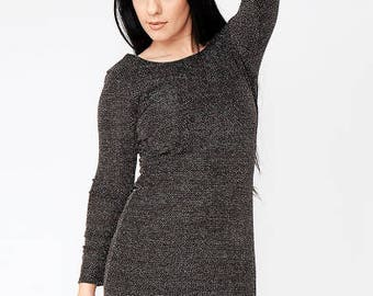 Black Glitter Dip Back Mini Bodycon Dress
