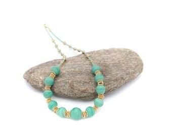 Green Murano glass bead necklace.
