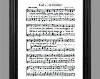 Great is thy Faithfulness Hymn Lyrics - Hymnal Art - Sheet Music- Home Decor - Inspirational Art - Gift - Instant Download - #HYMN-043