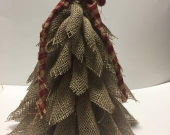 "Primitive burlap christmas tree 12"" tall"