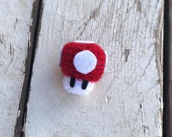 Mario Mushroom Inspired Crochet Magnet