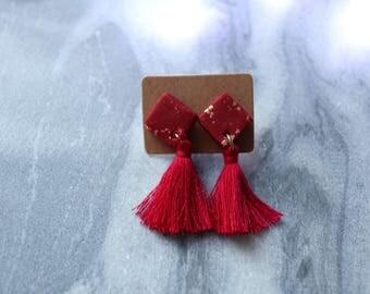 Red + gold christmas tassle earrings