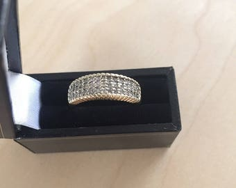 Old beautiful ring 9k yellow gold with 0.50ct diamonds