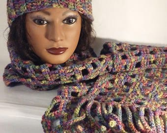 Ladies' Messy Bun Crocheted Hat and Windowpane Scarf Handmade