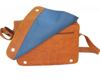 Mj Vintage  Leather Bag Brown- Lining Blue