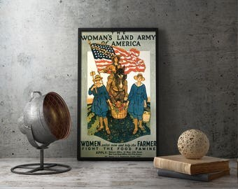 "WW1 American Propaganda Poster ""The Women's Land Army of America"" - wwi, decor, wall, art, decorations, first world war, home front, vtg"