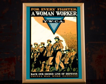Digital Downloads WW2 Poster - Woman Worker American Propaganda Poster, work hard poster, woman worker poster, ww2 american, wwii prints