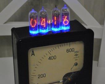 Nixie Tube Clock, steampunk clock, industrial clock, vintage clock, Nos clock, retro clock, unusual clock, table clock, shelf clock, rare