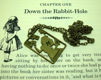 Alice in Wonderland pendant necklace - jewelry - Alice in a playing card - antique effect colored solid metal