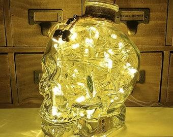 700ml Pirate Skull Head Warm White LED Glass Bottle Lamp Light