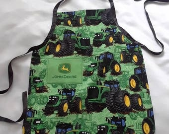 John Deere print little boys apron