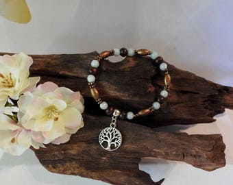 Natural Amazonite healing gemstone stretch bracelet with Wooden Beads and Tree of Life Charm