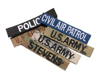 Military Name Tapes, Army OCP Name Tape, Air Force Nametape, Marines Name Tape, Navy Name Patch. Custom Name Tapes. Add Hook and Loop