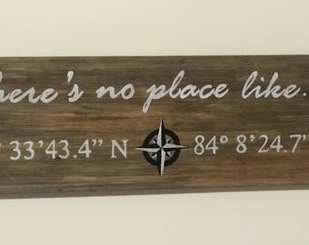 GPS Coordinates Wooden Sign