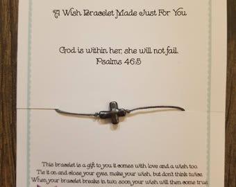 Cross Wish Bracelet!!  Handmade! Psalm 46:5 Customization Available!