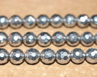 15 inches Full strand,128 faceted Silver Hematite round beads 6mm 8mm 10mm 12mm ,loose beads,semi-precious stone