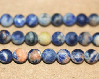 15 Inches Full strand,Natural Orange Blue Sodalite matte smooth round beads 6mm 8mm beads,loose beads,semi-precious stone