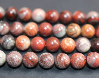 15 Inches Full strand,Natural Red Silver Leaf Jasper Smooth round beads 8mm ,loose beads,semi-precious stone