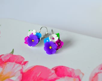 Flower earrings, Colorful earrings made from polymer clay! Unique!