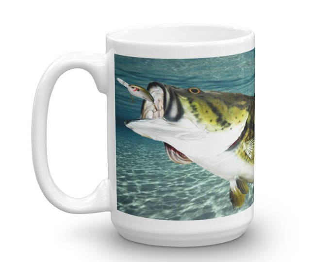 Big Bass Fishing, Fishing Theme Mug, Large Mouth Bass Coffee Cup, underwater Fishing Point of View, 5 lbs. bass, Catching Fish With Lures