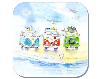 Beach Life - WV Camper Van Coaster (Corked Back). From an original Sheila Gill Watercolour Painting
